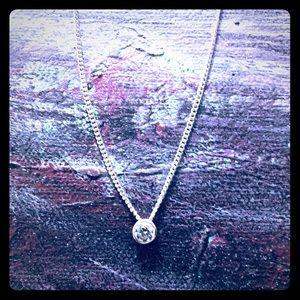 Diamond Solitaire Bezel Set Pendant Chain Necklace